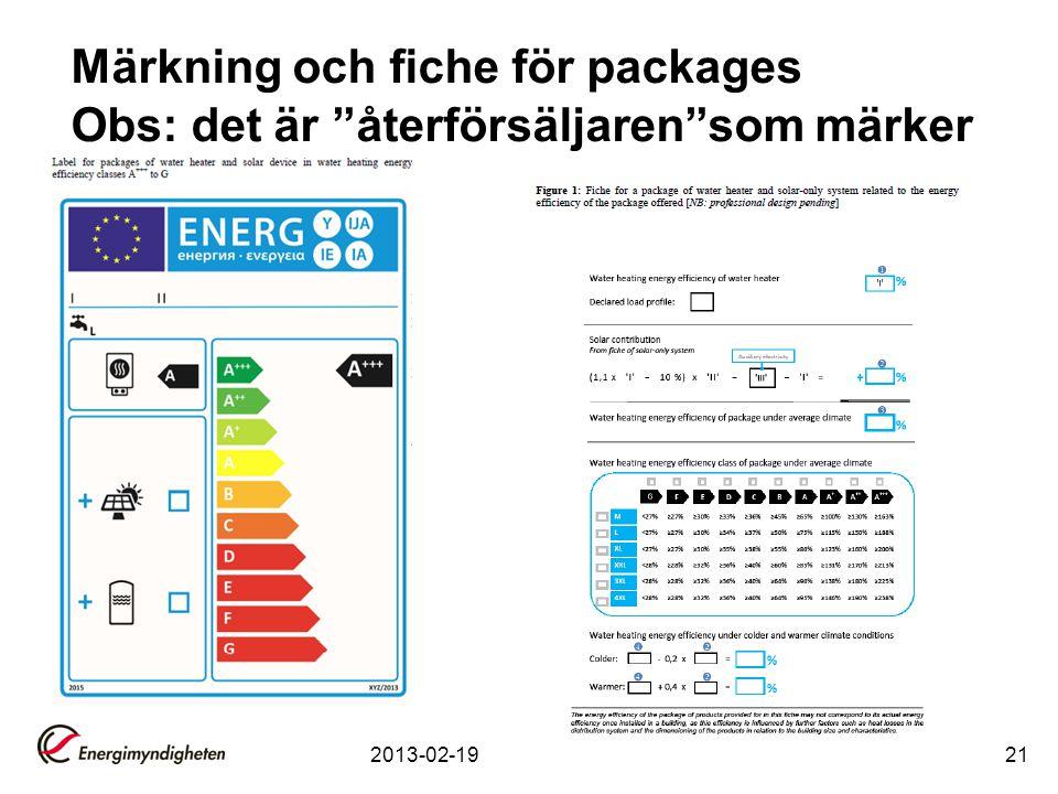 Märkning och fiche för packages Obs: det är återförsäljaren som märker