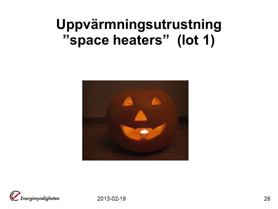 Uppvärmningsutrustning space heaters (lot 1)