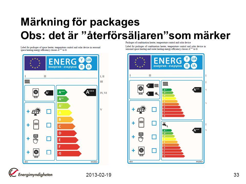 Märkning för packages Obs: det är återförsäljaren som märker
