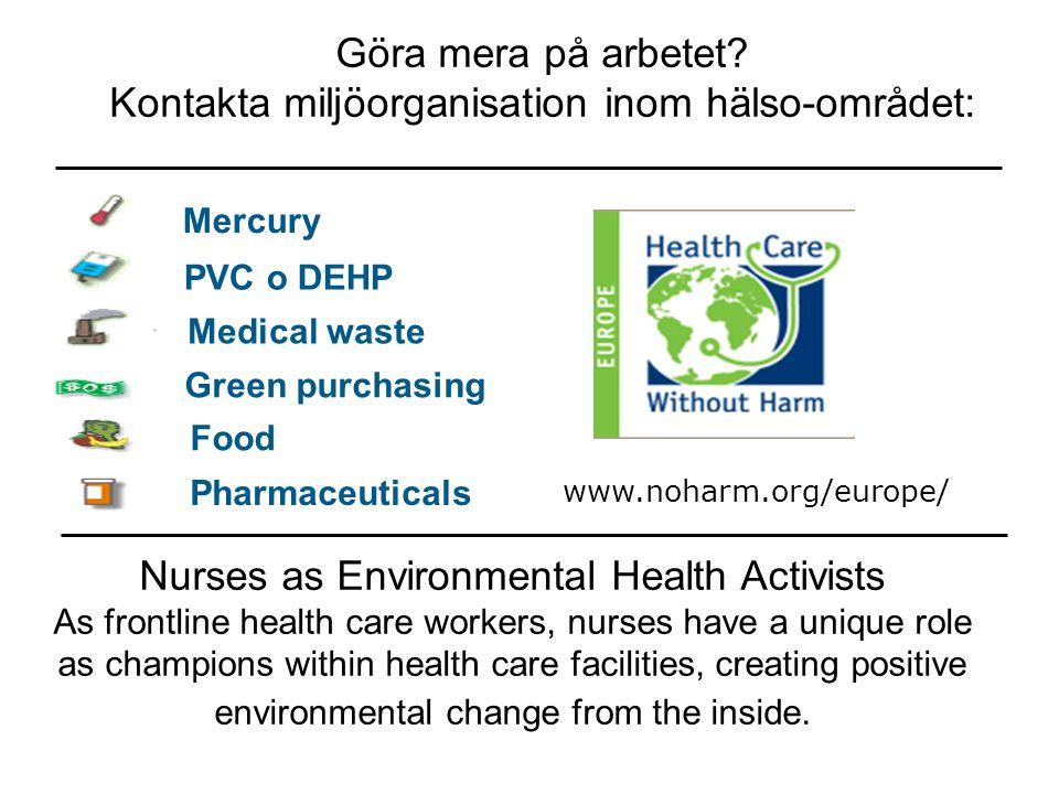 Kontakta miljöorganisation inom hälso-området: