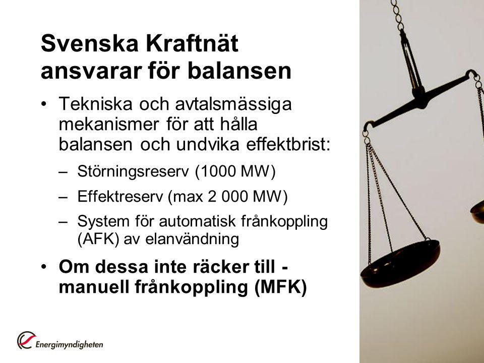 Svenska Kraftnät ansvarar för balansen