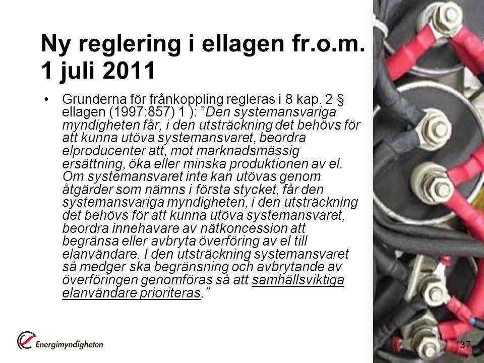 Ny reglering i ellagen fr.o.m. 1 juli 2011