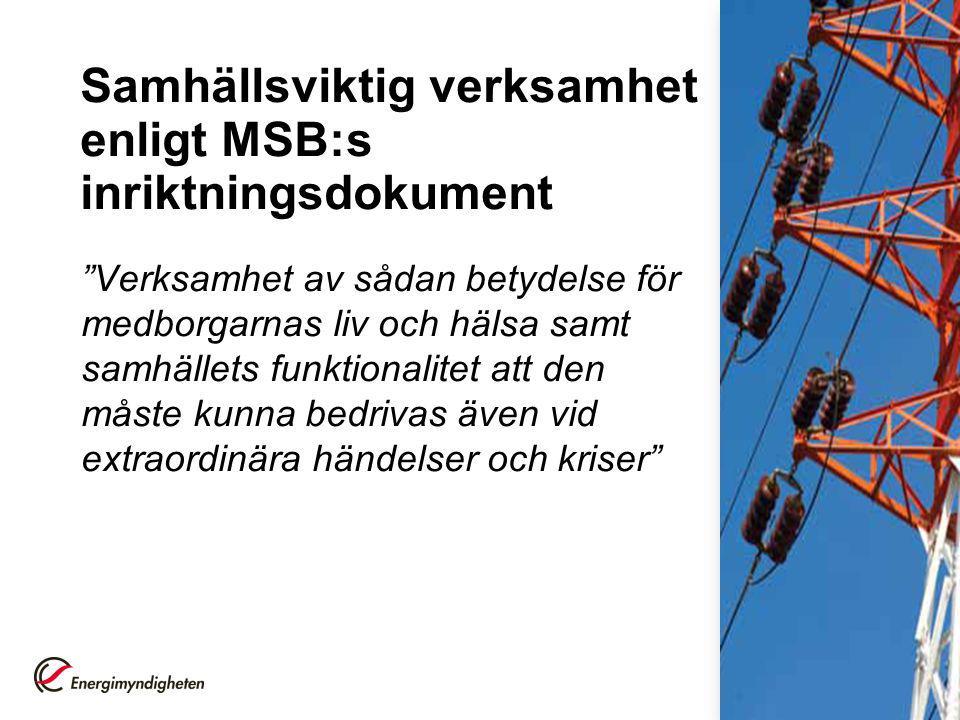 Samhällsviktig verksamhet enligt MSB:s inriktningsdokument