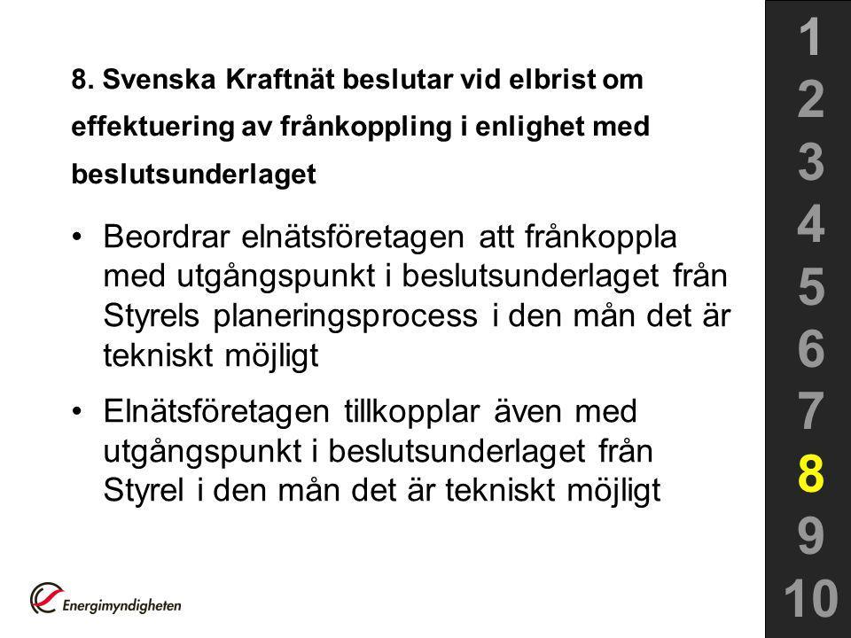 1 2. 3. 4. 5. 6. 7. 8. 9. 10. 8. Svenska Kraftnät beslutar vid elbrist om effektuering av frånkoppling i enlighet med beslutsunderlaget.