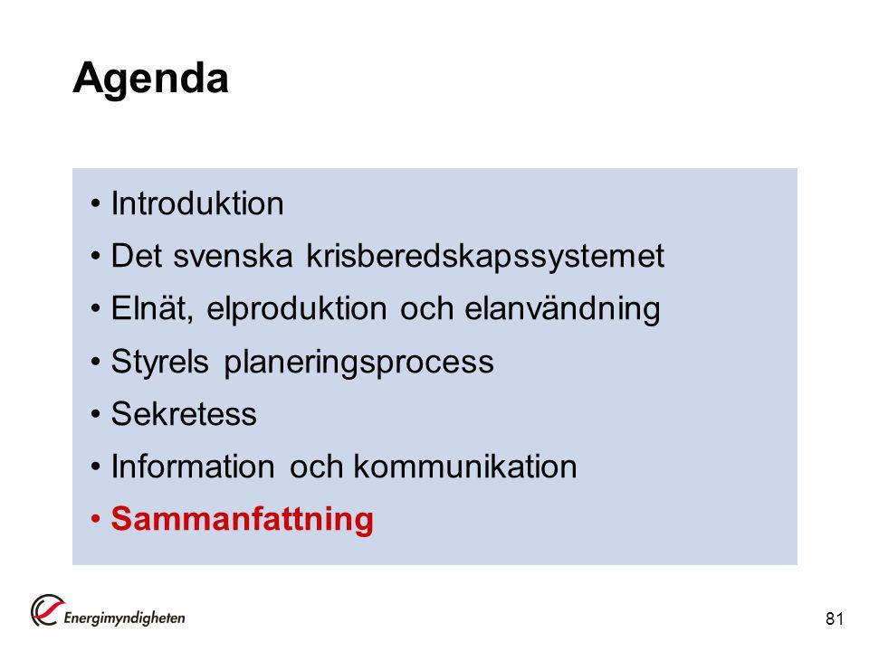 Agenda Introduktion Det svenska krisberedskapssystemet