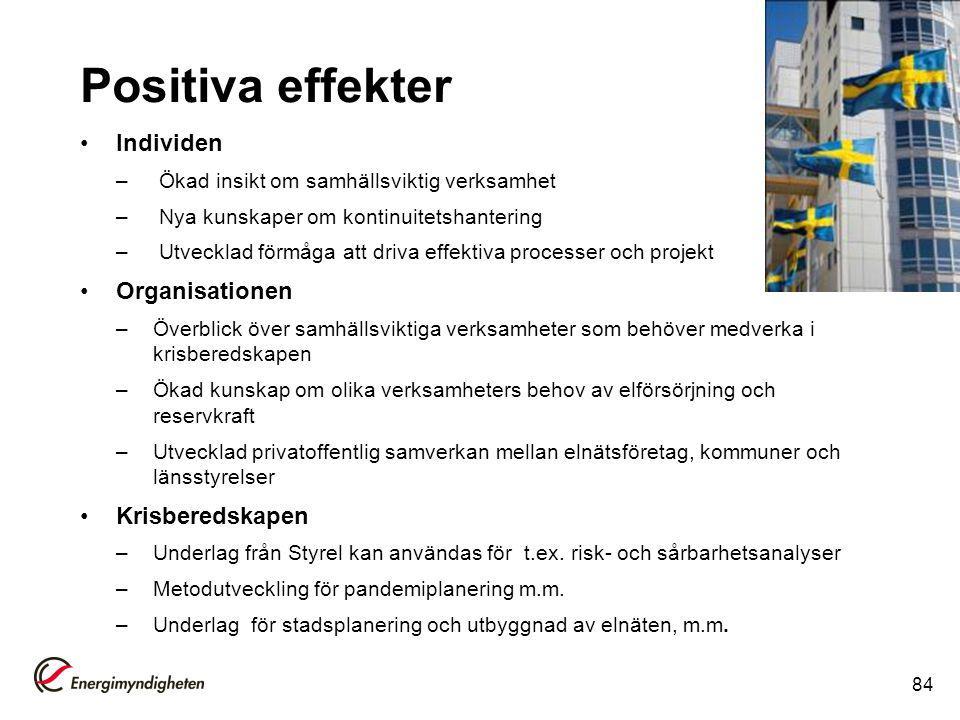 Positiva effekter Individen Organisationen Krisberedskapen