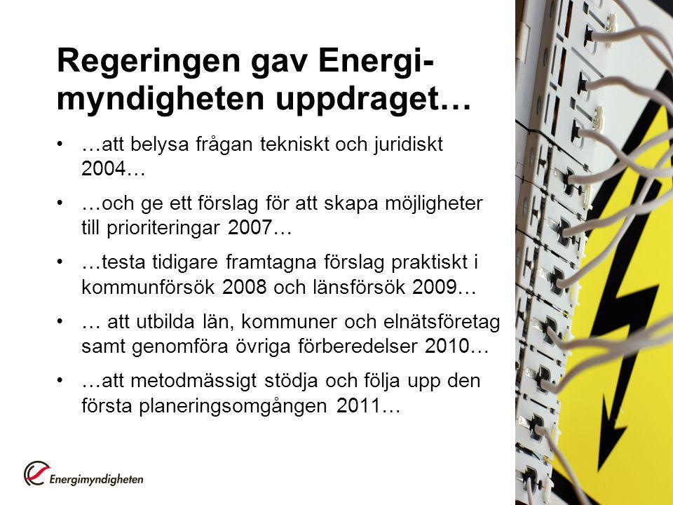 Regeringen gav Energi-myndigheten uppdraget…