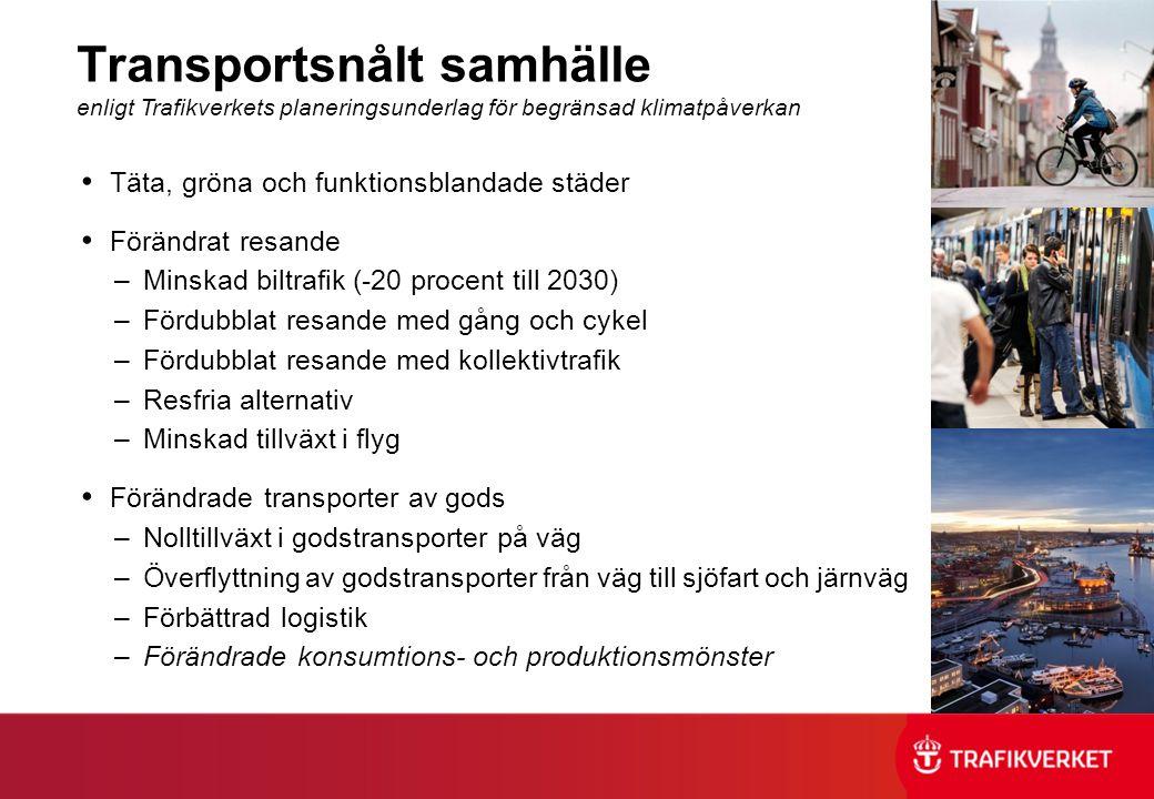 Transportsnålt samhälle enligt Trafikverkets planeringsunderlag för begränsad klimatpåverkan