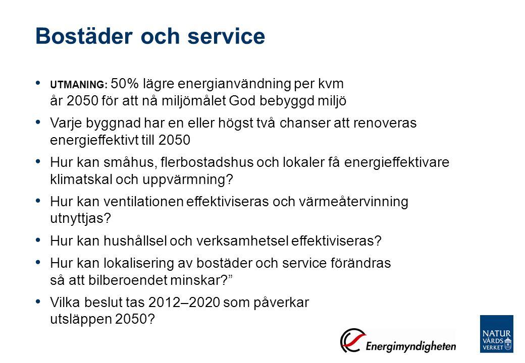 Bostäder och service UTMANING: 50% lägre energianvändning per kvm år 2050 för att nå miljömålet God bebyggd miljö.