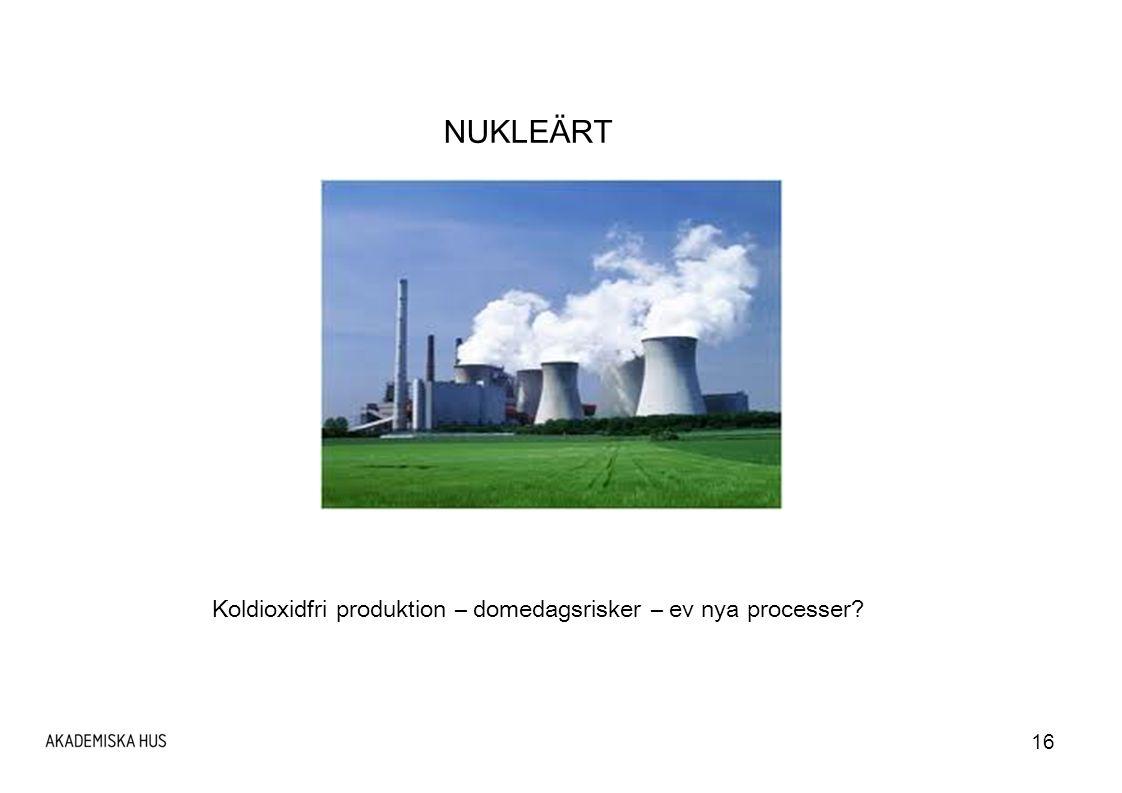 Koldioxidfri produktion – domedagsrisker – ev nya processer