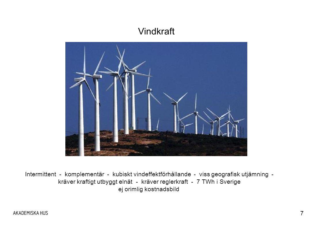 Vindkraft Intermittent - komplementär - kubiskt vindeffektförhållande - viss geografisk utjämning -