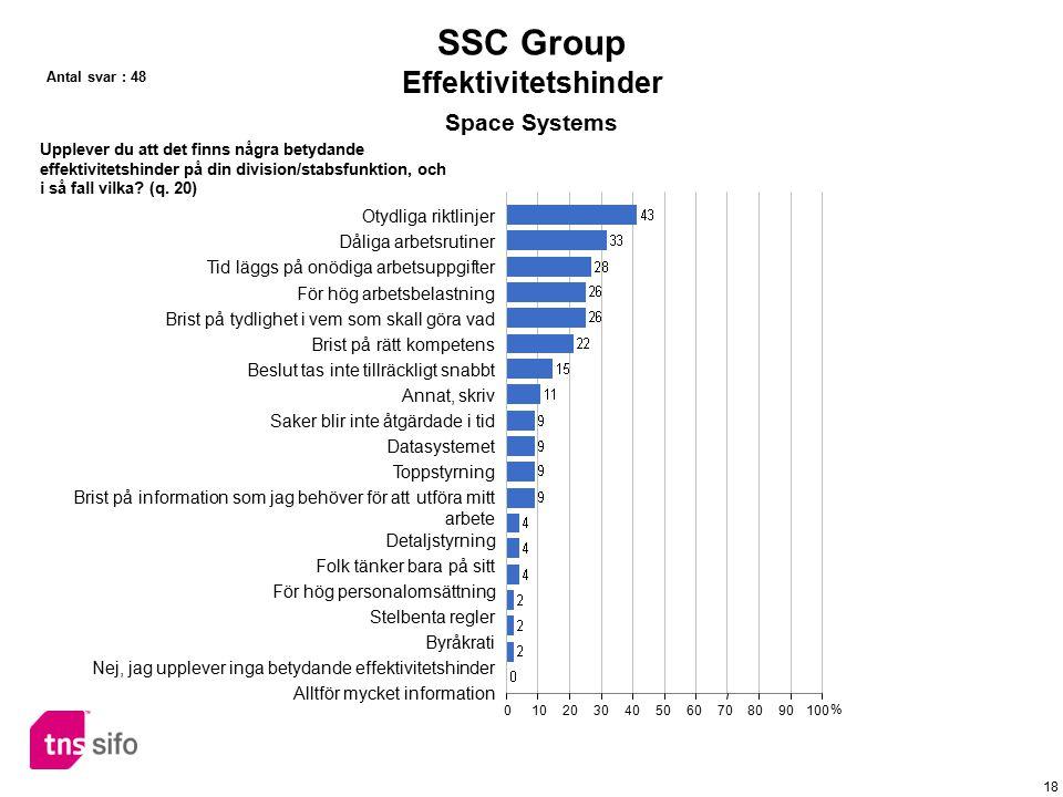 SSC Group Effektivitetshinder Space Systems Otydliga riktlinjer