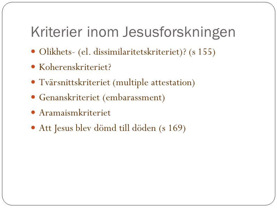 Kriterier inom Jesusforskningen