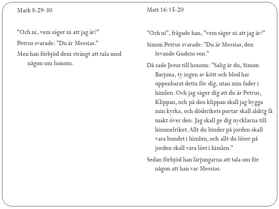 Och ni, vem säger ni att jag är Petrus svarade: Du är Messias.