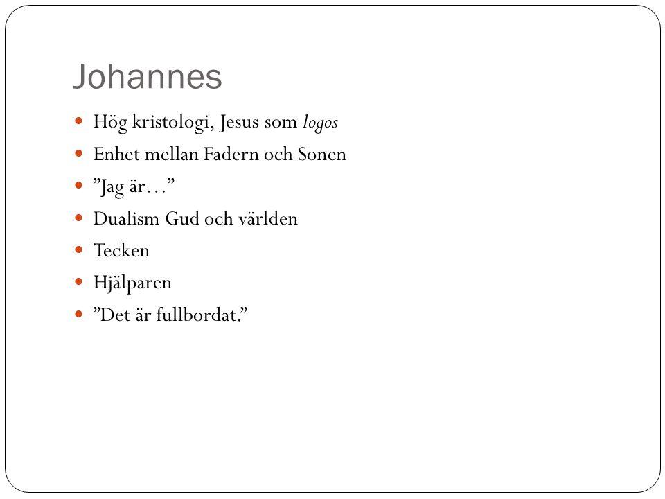 Johannes Hög kristologi, Jesus som logos Enhet mellan Fadern och Sonen
