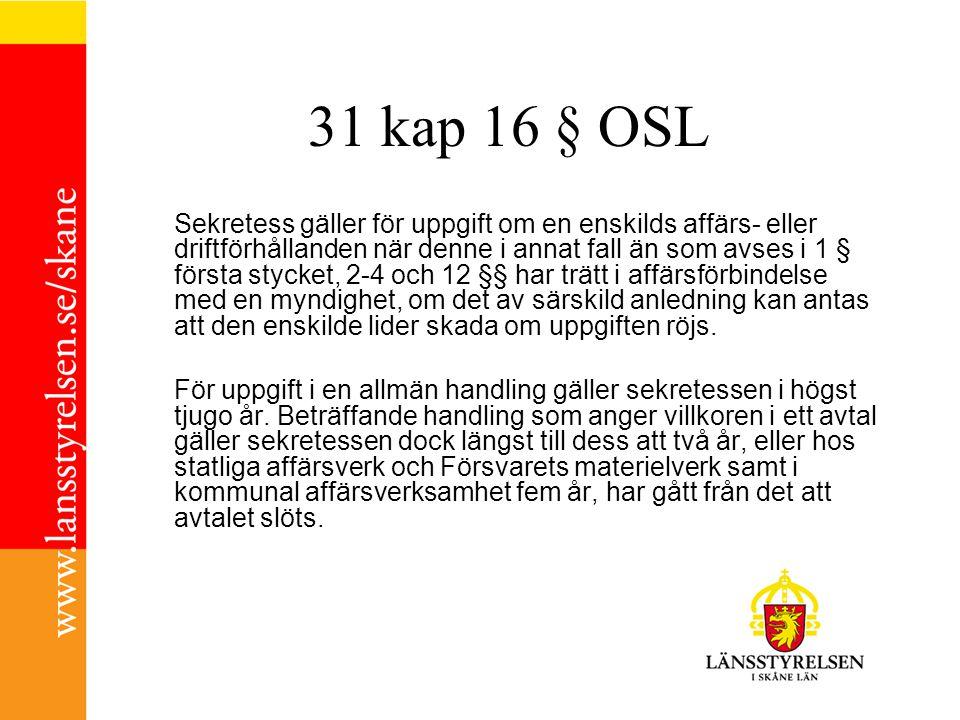 31 kap 16 § OSL