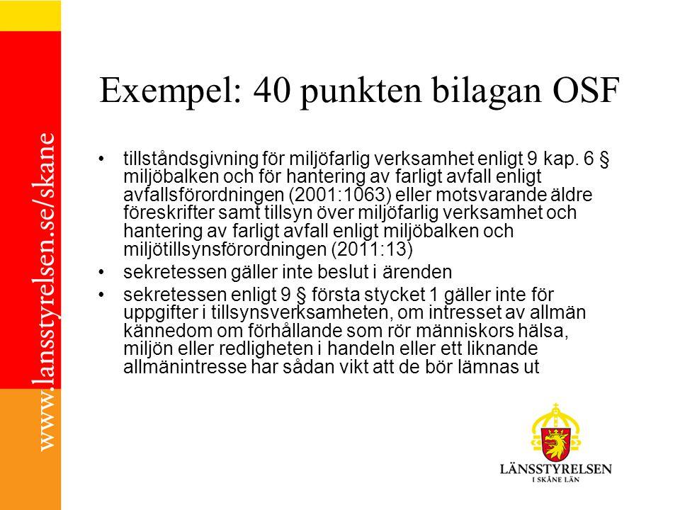Exempel: 40 punkten bilagan OSF