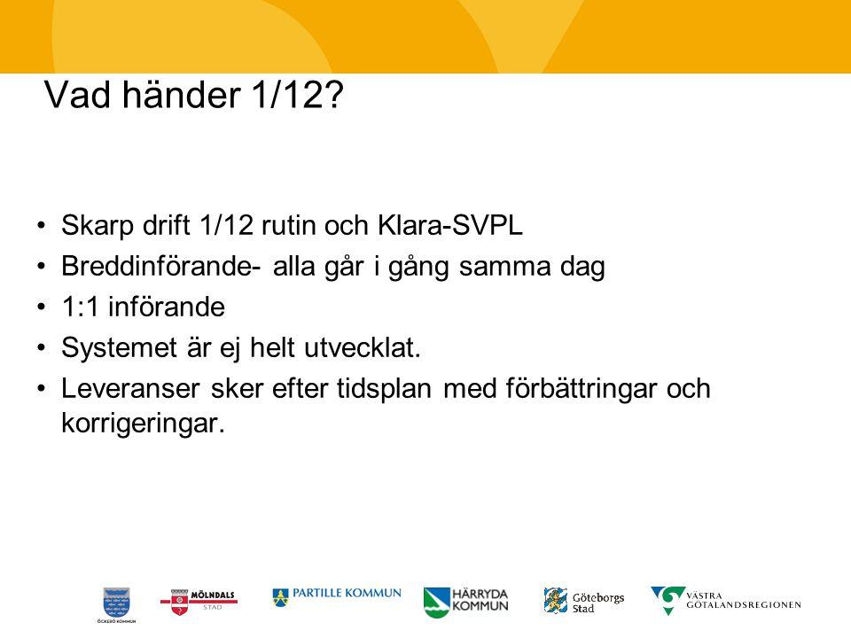 Vad händer 1/12 Skarp drift 1/12 rutin och Klara-SVPL