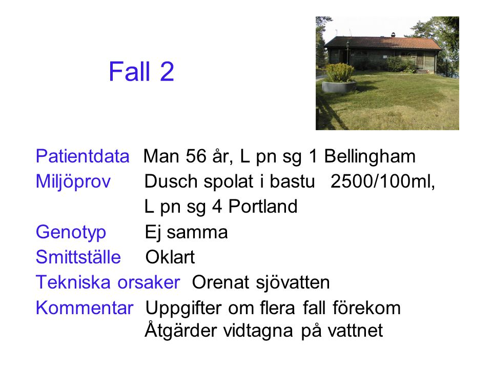 Fall 2 Patientdata Man 56 år, L pn sg 1 Bellingham