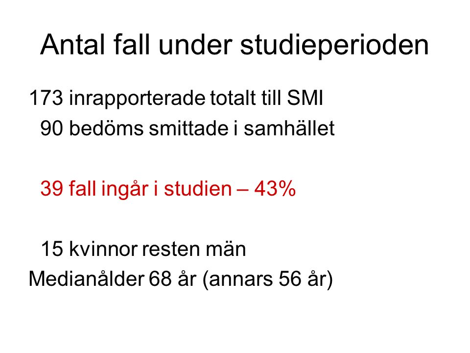 Antal fall under studieperioden