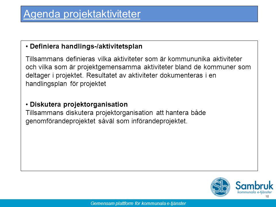 Agenda projektaktiviteter
