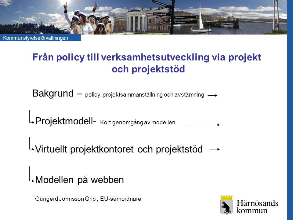 Från policy till verksamhetsutveckling via projekt och projektstöd