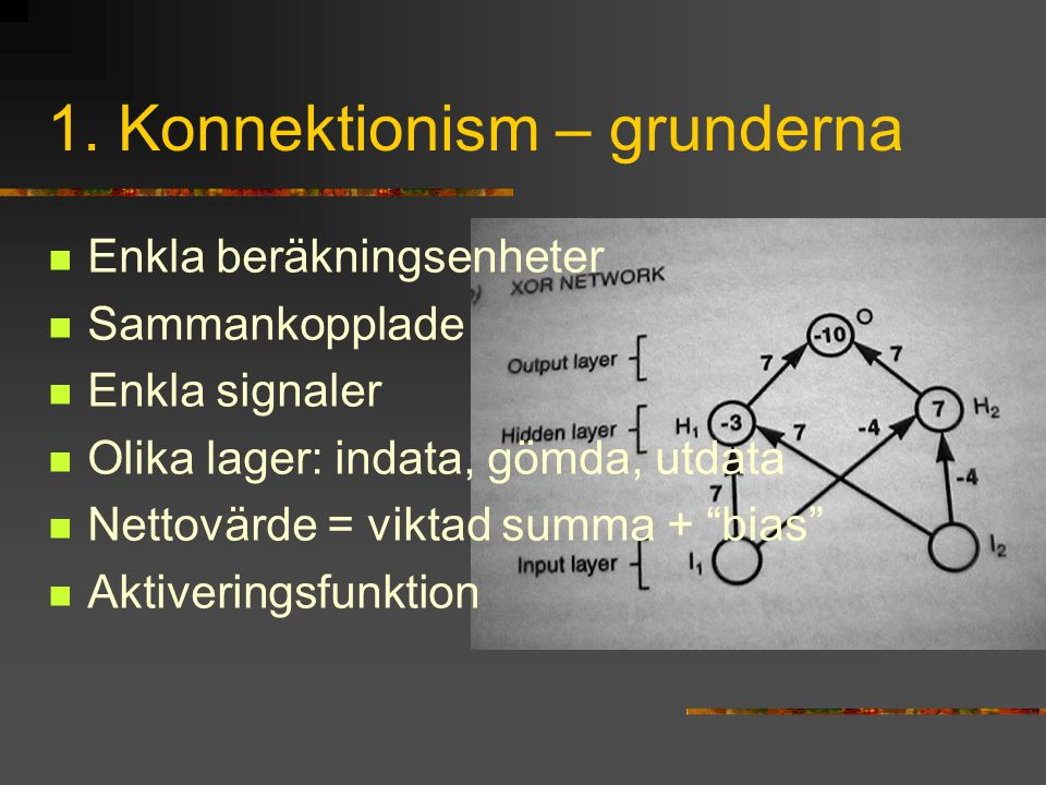 1. Konnektionism – grunderna