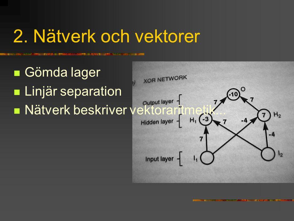 2. Nätverk och vektorer Gömda lager Linjär separation
