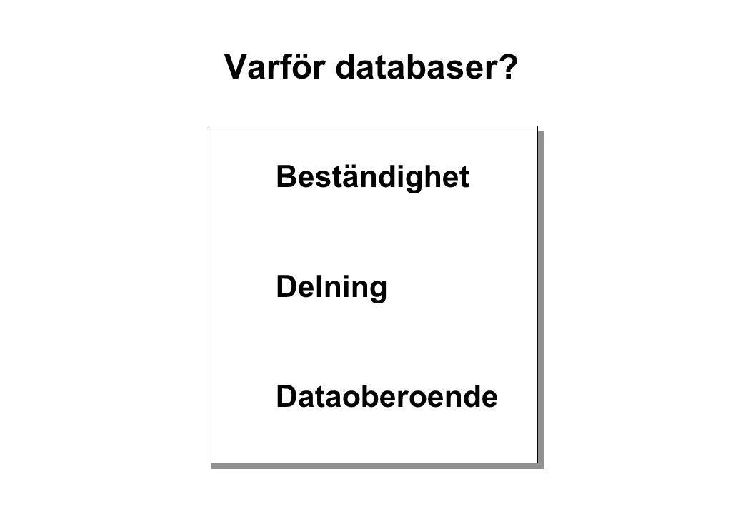 Varför databaser Beständighet Delning Dataoberoende