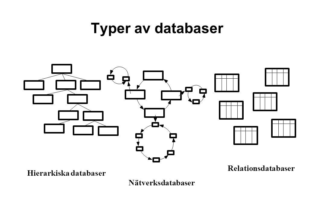 Typer av databaser Relationsdatabaser Hierarkiska databaser