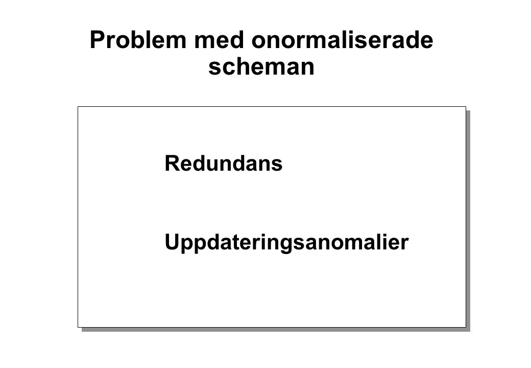 Problem med onormaliserade scheman