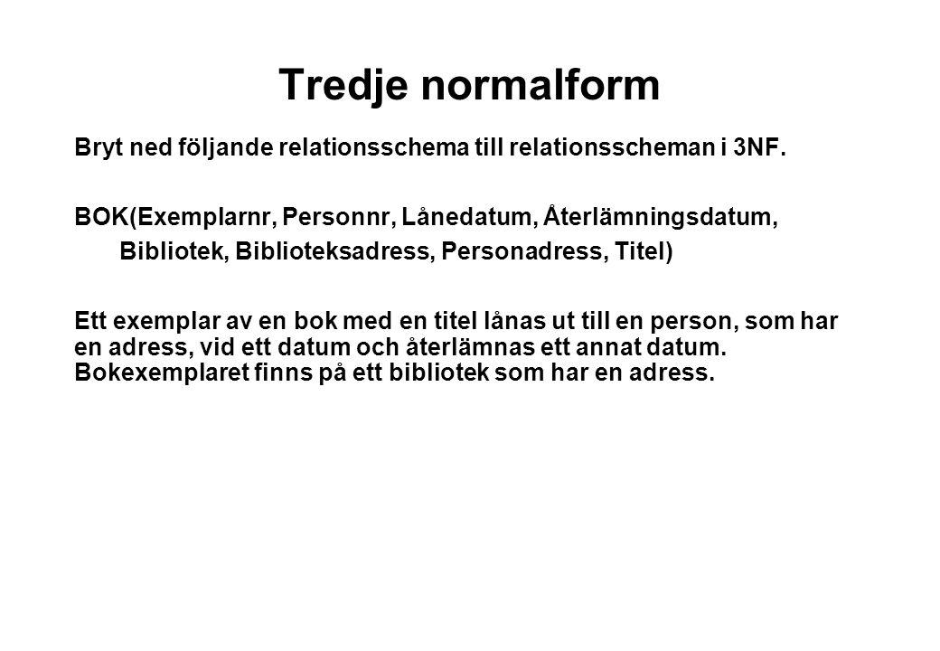 Tredje normalform Bryt ned följande relationsschema till relationsscheman i 3NF. BOK(Exemplarnr, Personnr, Lånedatum, Återlämningsdatum,