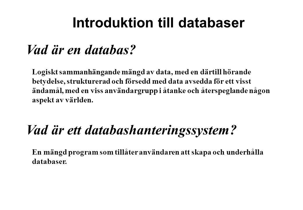 Introduktion till databaser
