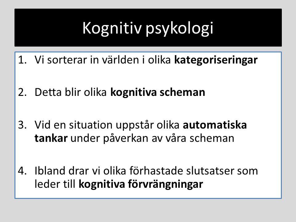 Kognitiv psykologi Vi sorterar in världen i olika kategoriseringar