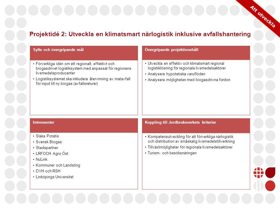 Att utveckla Projektidé 2: Utveckla en klimatsmart närlogistik inklusive avfallshantering. Syfte och övergripande mål.