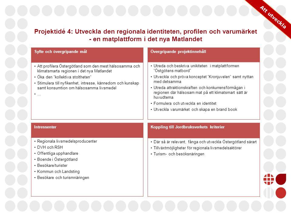 Att utveckla Projektidé 4: Utveckla den regionala identiteten, profilen och varumärket - en matplattform i det nya Matlandet.