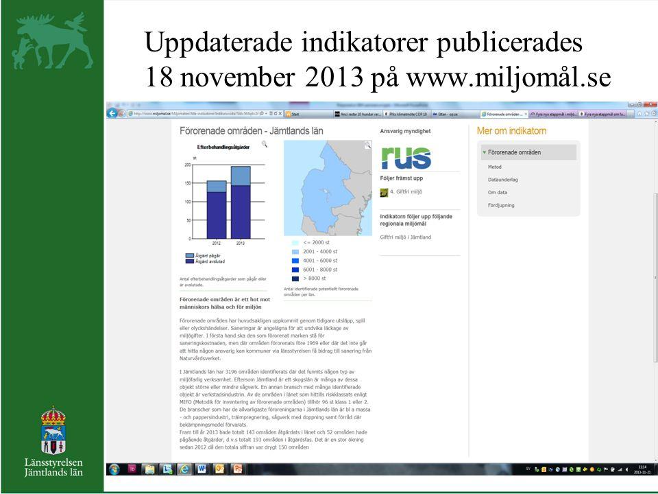 Uppdaterade indikatorer publicerades 18 november 2013 på www. miljomål