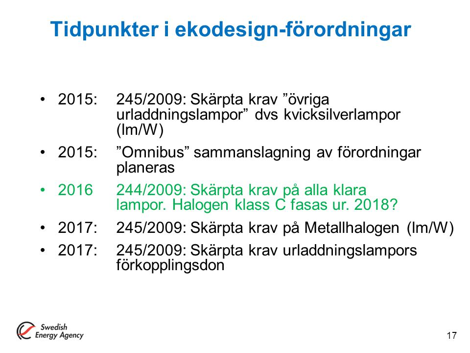 Tidpunkter i ekodesign-förordningar