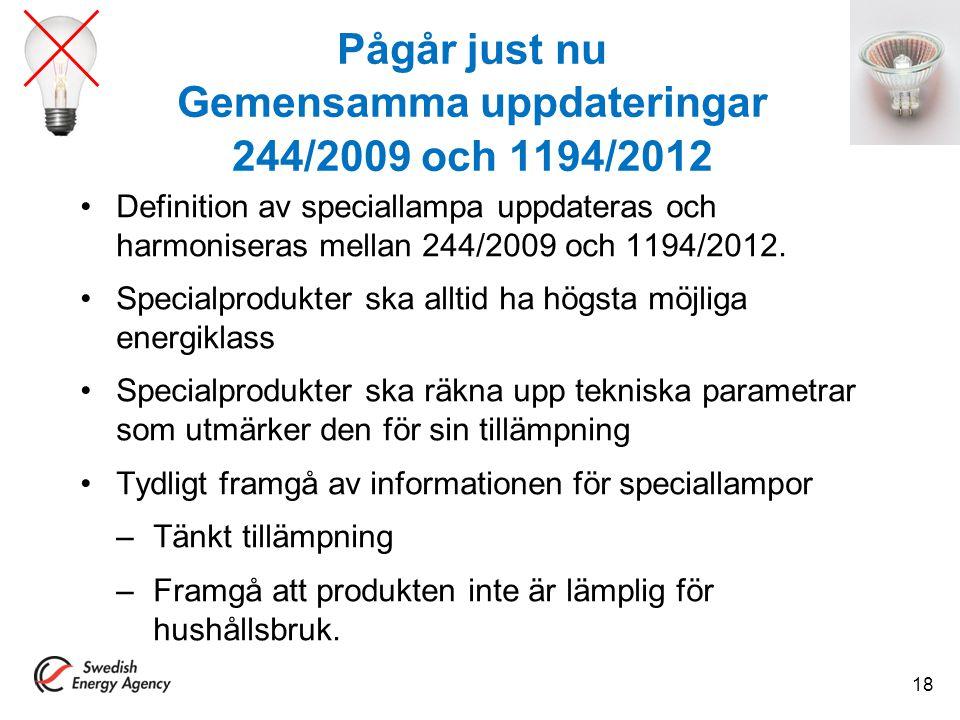 Pågår just nu Gemensamma uppdateringar 244/2009 och 1194/2012