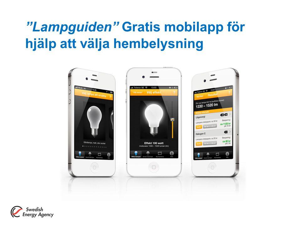 Lampguiden Gratis mobilapp för hjälp att välja hembelysning