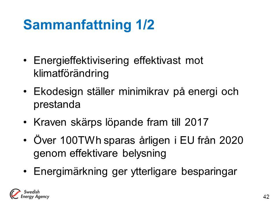 Sammanfattning 1/2 Energieffektivisering effektivast mot klimatförändring. Ekodesign ställer minimikrav på energi och prestanda.