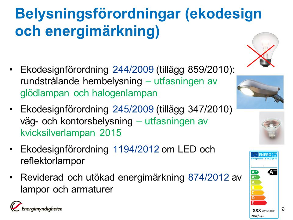 Belysningsförordningar (ekodesign och energimärkning)