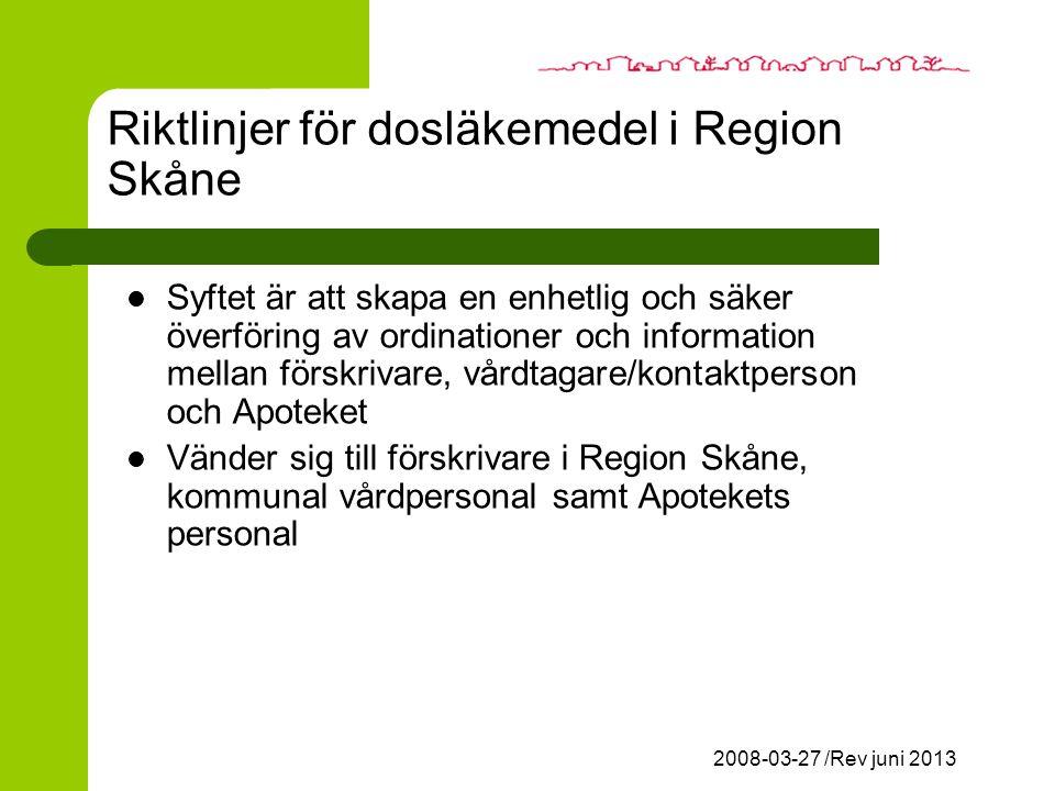 Riktlinjer för dosläkemedel i Region Skåne