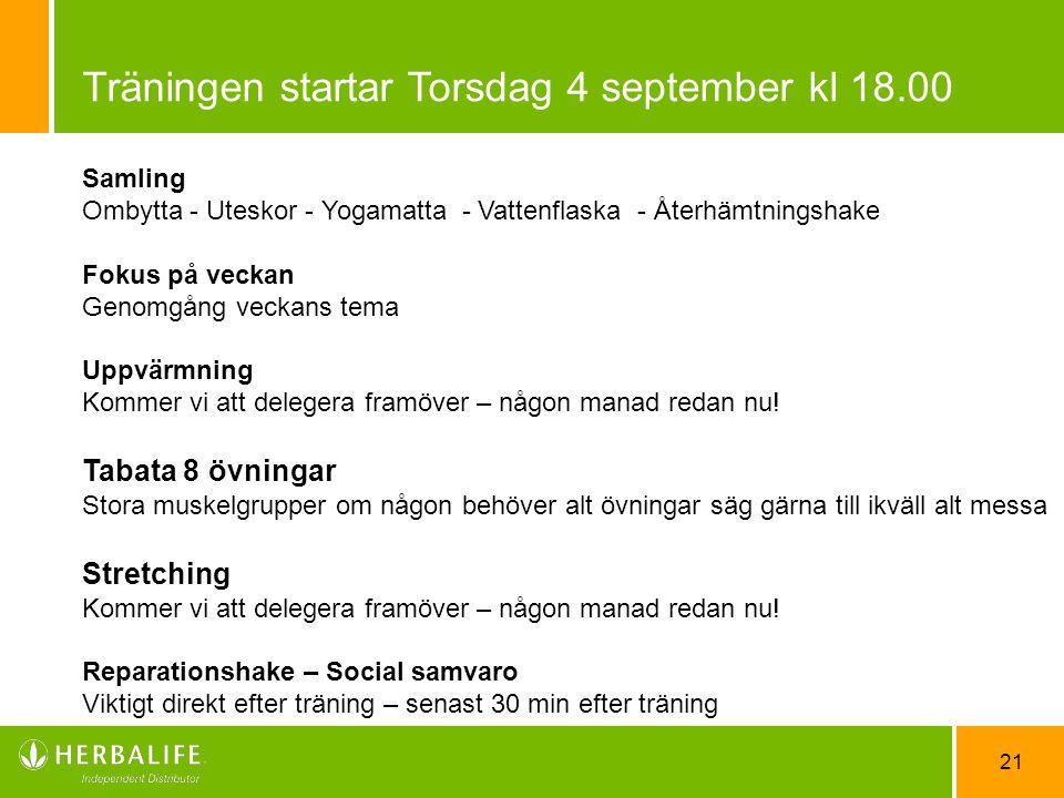Träningen startar Torsdag 4 september kl 18.00