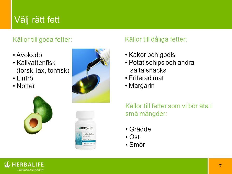 Välj rätt fett Källor till goda fetter: Källor till dåliga fetter: