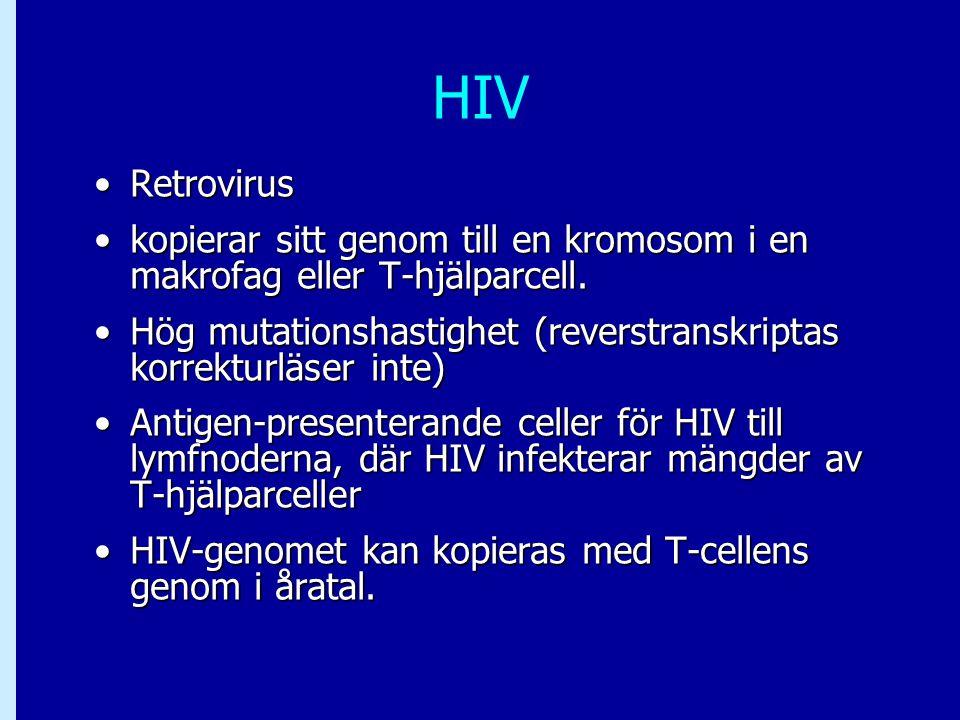 HIV Retrovirus. kopierar sitt genom till en kromosom i en makrofag eller T-hjälparcell.