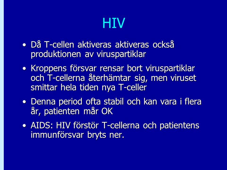 HIV Då T-cellen aktiveras aktiveras också produktionen av viruspartiklar.