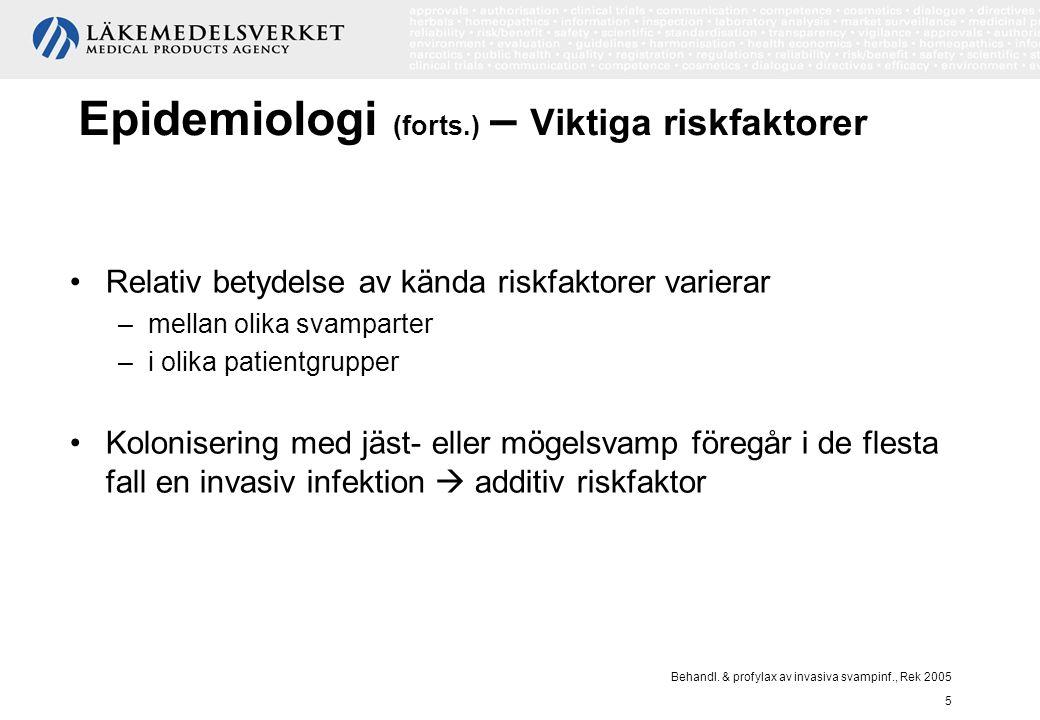 Epidemiologi (forts.) – Viktiga riskfaktorer