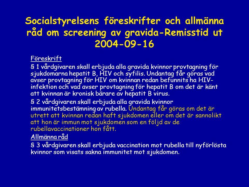 Socialstyrelsens föreskrifter och allmänna råd om screening av gravida-Remisstid ut 2004-09-16