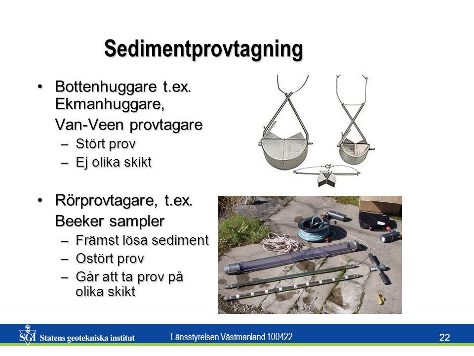 Sedimentprovtagning Bottenhuggare t.ex. Ekmanhuggare,